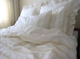 plain all ivory cream full queen duvet cover lace eyelet