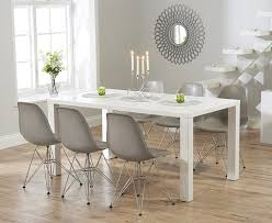 White Gloss Extendable Dining Table Buy The Atlanta 160cm White High Gloss Dining Table With Charles