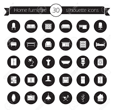 home furniture items furniture icons set home interior decoration design symbols