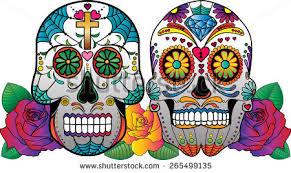 2 vector sugar skulls roses on stock vector 265499135
