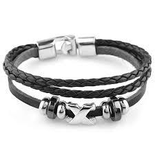bracelet cuir homme images Bracelet homme cuir 3cordons perles croix acier bijouxstore jpg