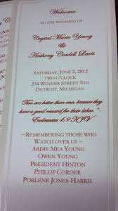 in memory of wedding program incorporating memories of your loved ones events