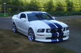 white mustang blue stripes painted vs decal stripes ford mustang forum