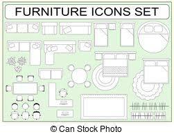 Floor Plan Furniture Clipart Vector Clip Art Of Simple Furniture Floor Plan Vector Icons