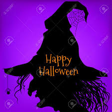 witch silhouette side view halloween style purple background