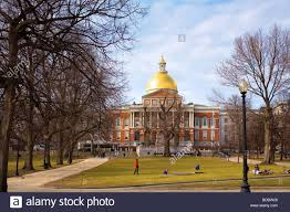 the massachusetts state house viewed from boston common park