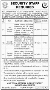 Security Guard Jobs With No Experience In Shaheed Mohtarma Benazir Bhutto Trauma Centre 25th June 2016