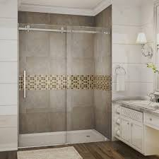 Diy Frameless Shower Doors Aston Moselle 60 In X 75 In Completely Frameless Sliding Shower