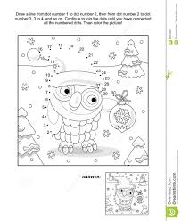 dot coloring pages dot to dot and coloring page with christmas owl stock vector