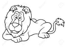 illustration of cartoon lion coloring book royalty free cliparts