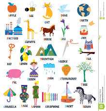 abc for kids with animals objects toys stock vector image
