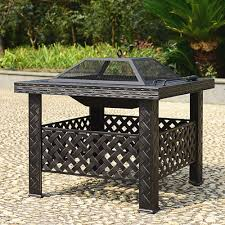 Rectangle Fire Pit Table Ikayaa Metal Garden Backyard Patio Outdoor Fire Pit Lovdock Com