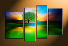 canvas painting for home decoration 4 piece colorful landscape tree multi panel canvas