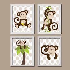 Monkey Decor For Nursery Boy Monkey Wall Canvas Or Prints Monkey Nursery Artwork