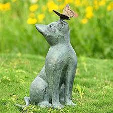cat and butterfly curiosity garden statue outdoor