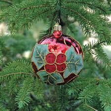holly on red ball christmas ornament garden artisans llc