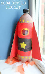 soda bottle rocket kids craft in the playroom