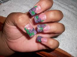 my acrylic nails purple glitter fade with 3d mini roses youtube