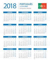 Calendario 2018 Feriados Portugal Calendá 2018 Vertical Azul Versão Em Português Vetor E