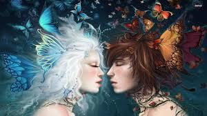 couple fairy woman butterfly love
