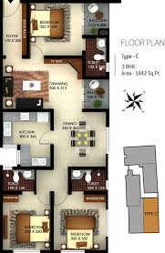 castle green floor plan 1442 sq ft 3 bhk 3t apartment for sale in silver castle green