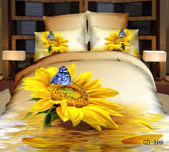 2015 100 cotton 3d bedding sets yellow sunflower butterfly