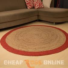 Jute Round Rugs by Poly Border 150cm Round Jute Rug Red Natural Jute Rugs