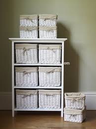 Wicker Basket Bathroom Storage White Floral Wicker Basket Storage Cabinet Unit With Cupboard