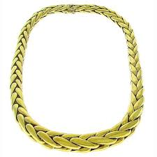 gold braided chain necklace images Buy estate tapering 18k yellow gold braided link chain necklace jpg
