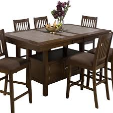 Dining Room Sets With Leaf Jofran 976 Caleb Brown Tile Top Counter Height Table With