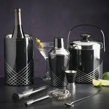 martini shaker set viners stainless steel art deco black cocktail shaker dove mill