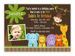 Birthday Invitation Card Sample Wording Jungle Themed 1st Birthday Invitations Safari 1st Birthday