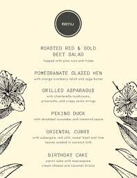 Thanksgiving Dinner Menu Template Cream With Vintage Flower Sketches Dinner Party Menu Templates