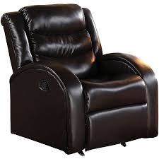 acme noah rocker recliner espresso bonded leather match walmart com