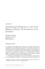 anthropological perspectives on the social biology of alcohol an