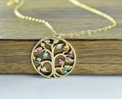great grandmother necklace gold family tree necklace mothers necklace birthstone necklace
