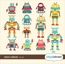 buy clipart buy 2 get 1 free vintage robots clipart for personal and