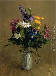 pewter vase with flowers by william whitaker oil painting