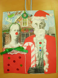 making christmas cards parodies of american gothic winter art