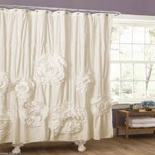 Vertical Ruffle Curtains by New Ivory Large Flower Romantic Shabby Fabric Shower Curtain 3d