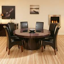 Dining Table And Six Chairs Large Round Dining Table Seats 8 Lazy Susan Starrkingschool Within