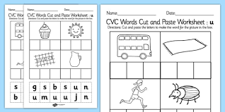 cvc words cut and paste worksheets u cvc worksheets cvc