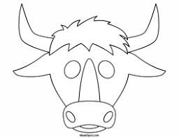 printable bull mask bull mask to color png