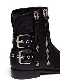 motorcycle ankle boots giuseppe zanotti u0027cobain u0027 motorcycle buckle boots in black lyst