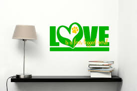 love is a four legged word vinyl wall sticker decals pet graphic 23x15