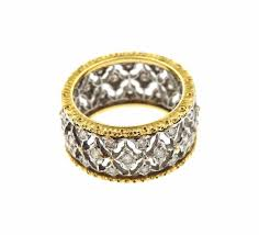 open wedding band buccellati diamond two color gold open work wedding band ring for