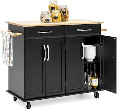 best kitchen cabinets store best choice products portable kitchen island cart for serving storage décor w wood top 2 towel racks drawers cabinets adjustable shelves black