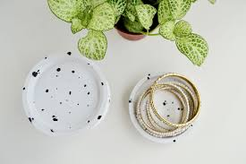 ikea hack diy speckled jewelry dish from coasters