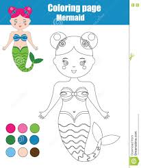 coloring page with mermaid children educational game kids