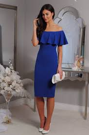 wedding occasion dresses royal blue bodycon dress the shoulder ruffle occasion wear